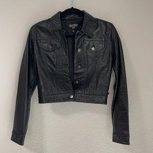 Vintage Polo Jeans Co Ralph Lauren Black Label Cropped Genuine Leather Jacket XS